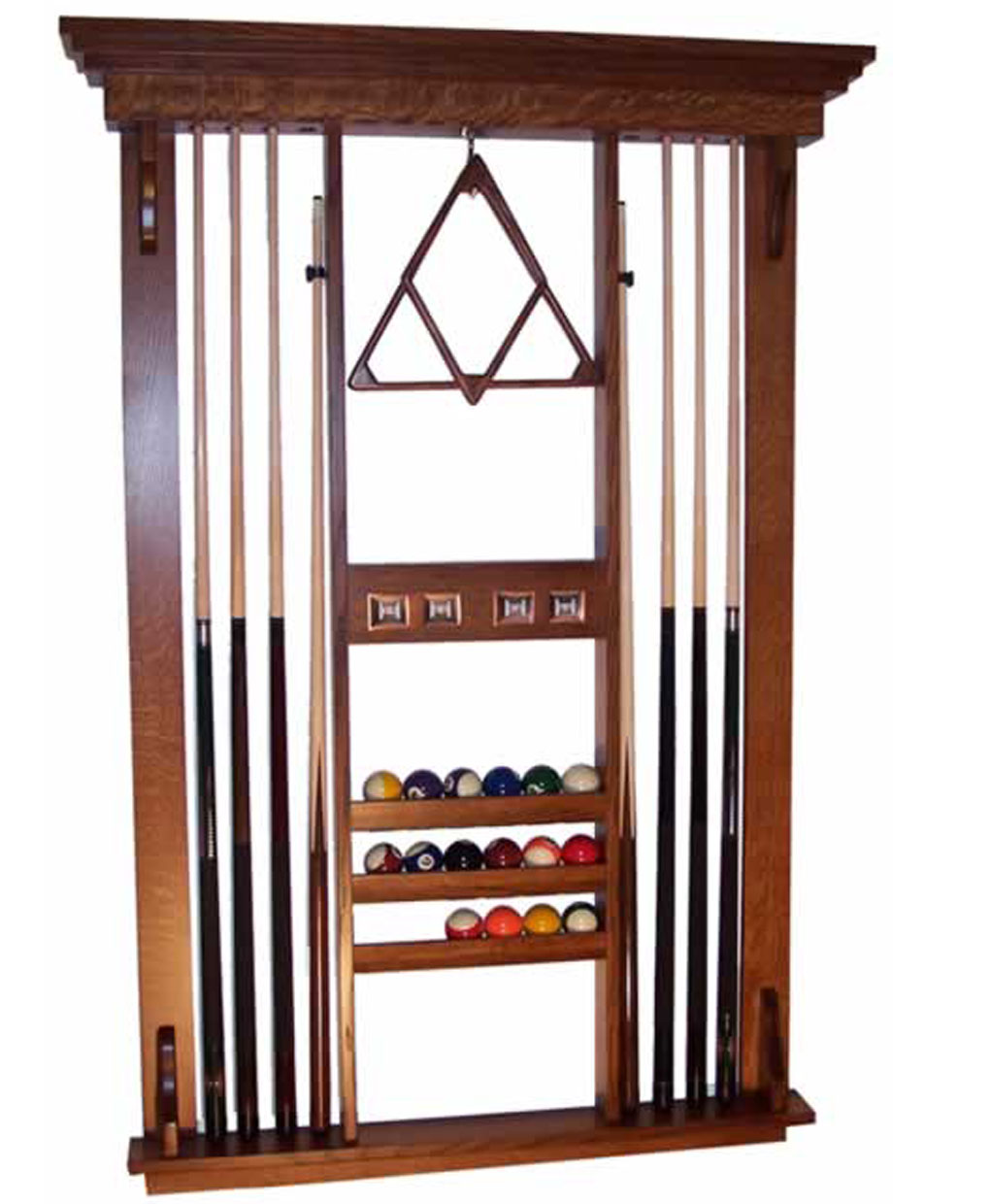 Deluxe pool table accessories wall rack amish direct furniture - Billiard table accessories ...