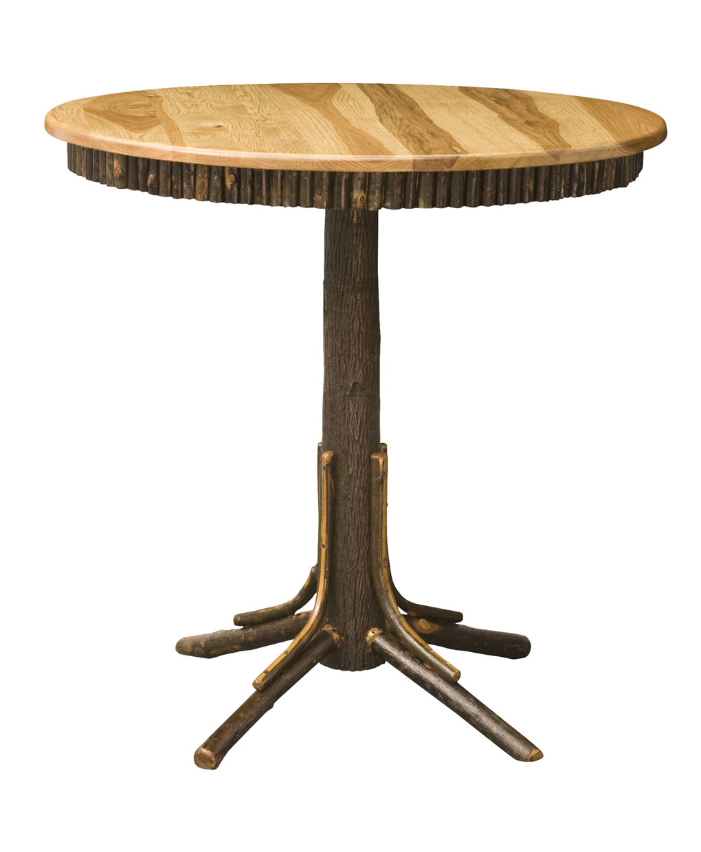Hickory Log Round Pub Table Amish Direct Furniture