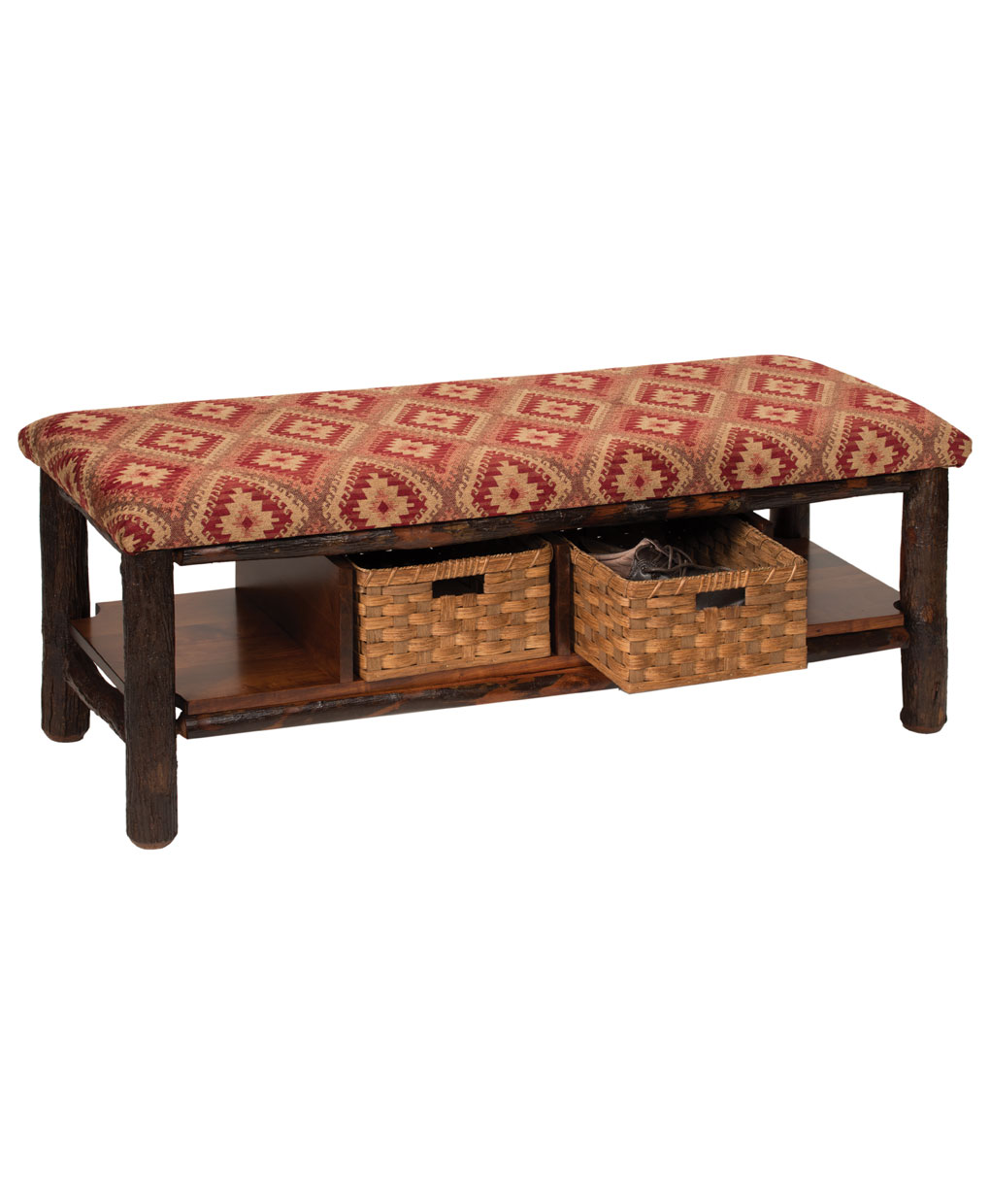 Hickory Log Bench With Two Baskets Amish Direct Furniture