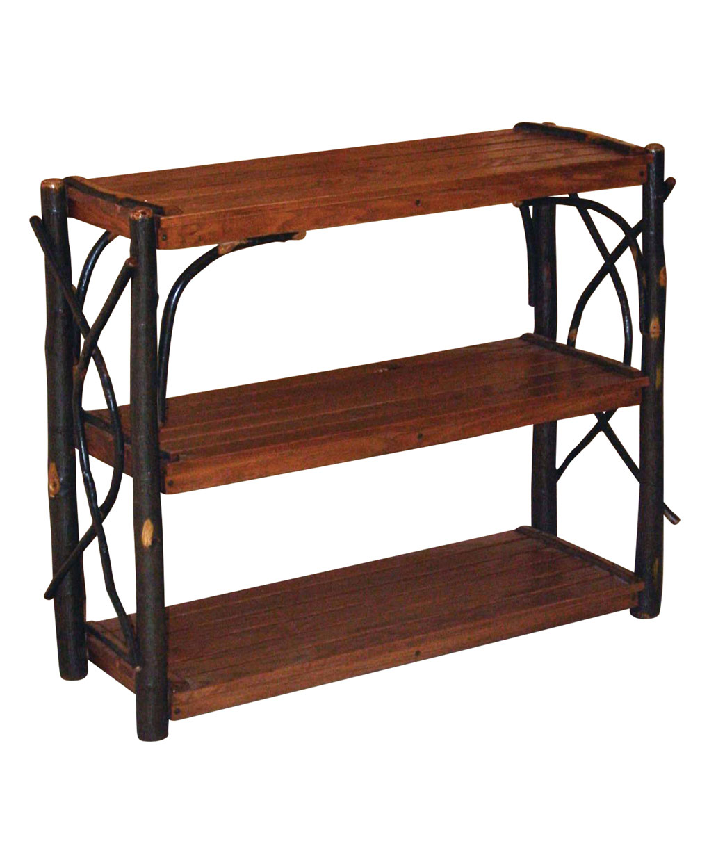 Hickory Log Shelf Stand Amish Direct Furniture