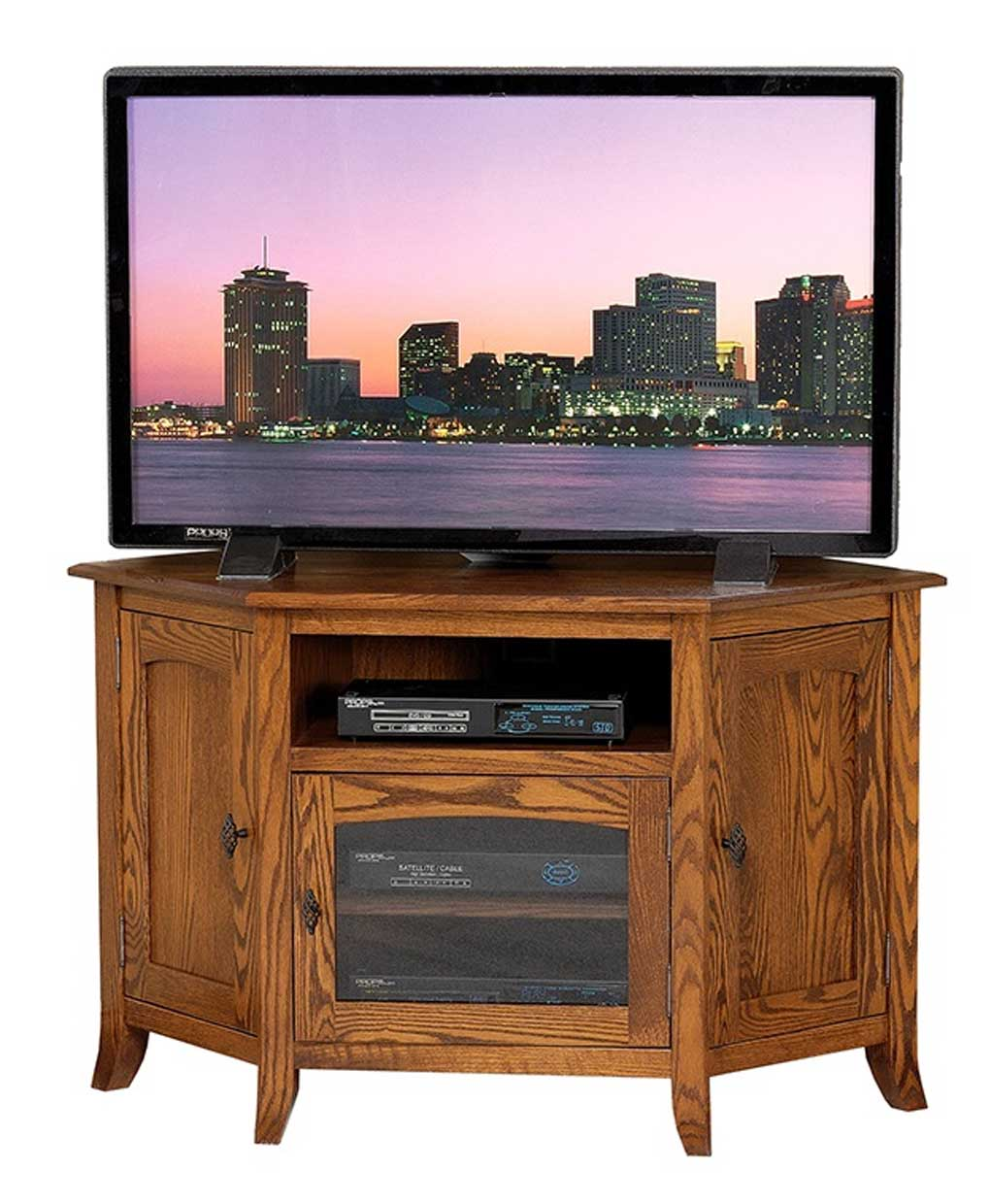 young mission style 35 corner tv stand amish direct. Black Bedroom Furniture Sets. Home Design Ideas