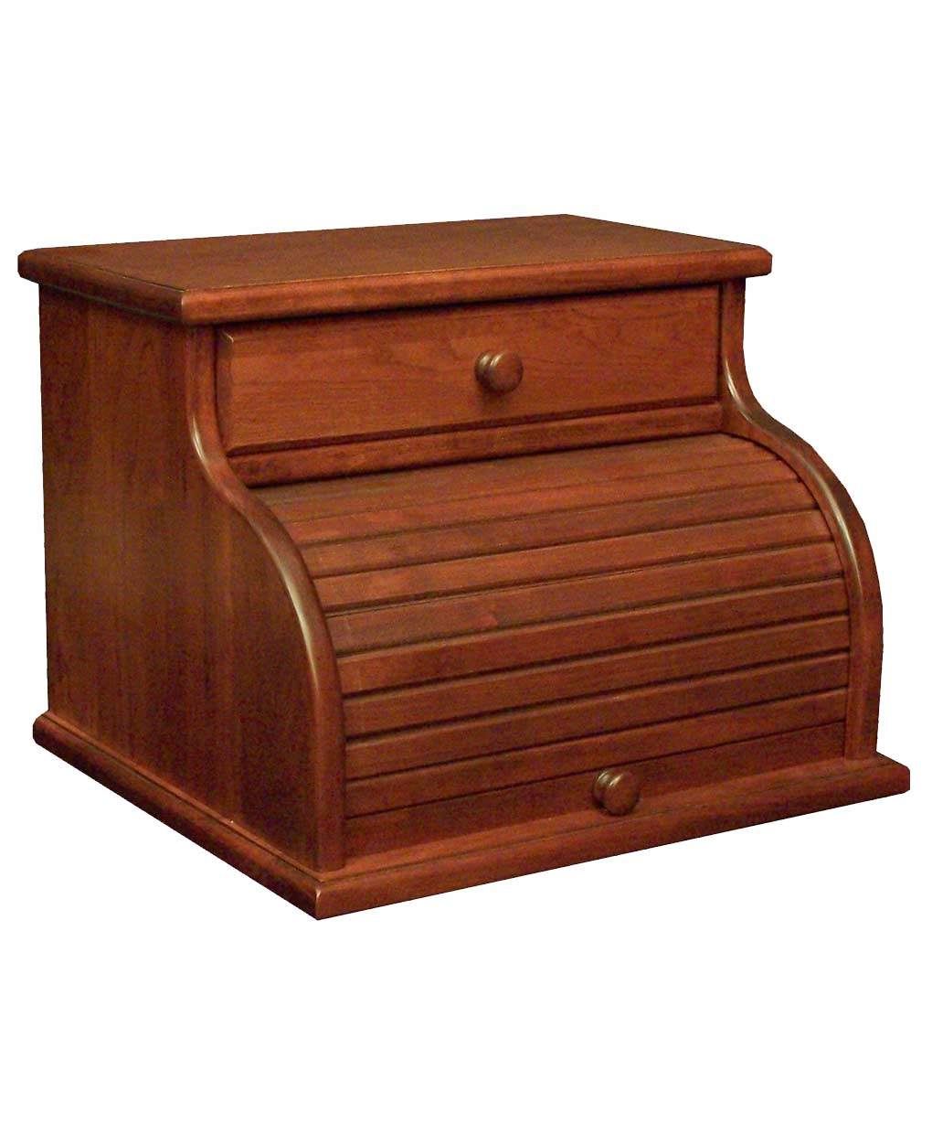 Cherry Roll Top Bread Box With Drawer Amish Direct Furniture