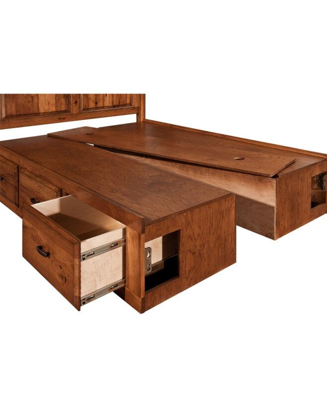 "Highland Amish Bed [18"" Storage Rail / SRO18]"