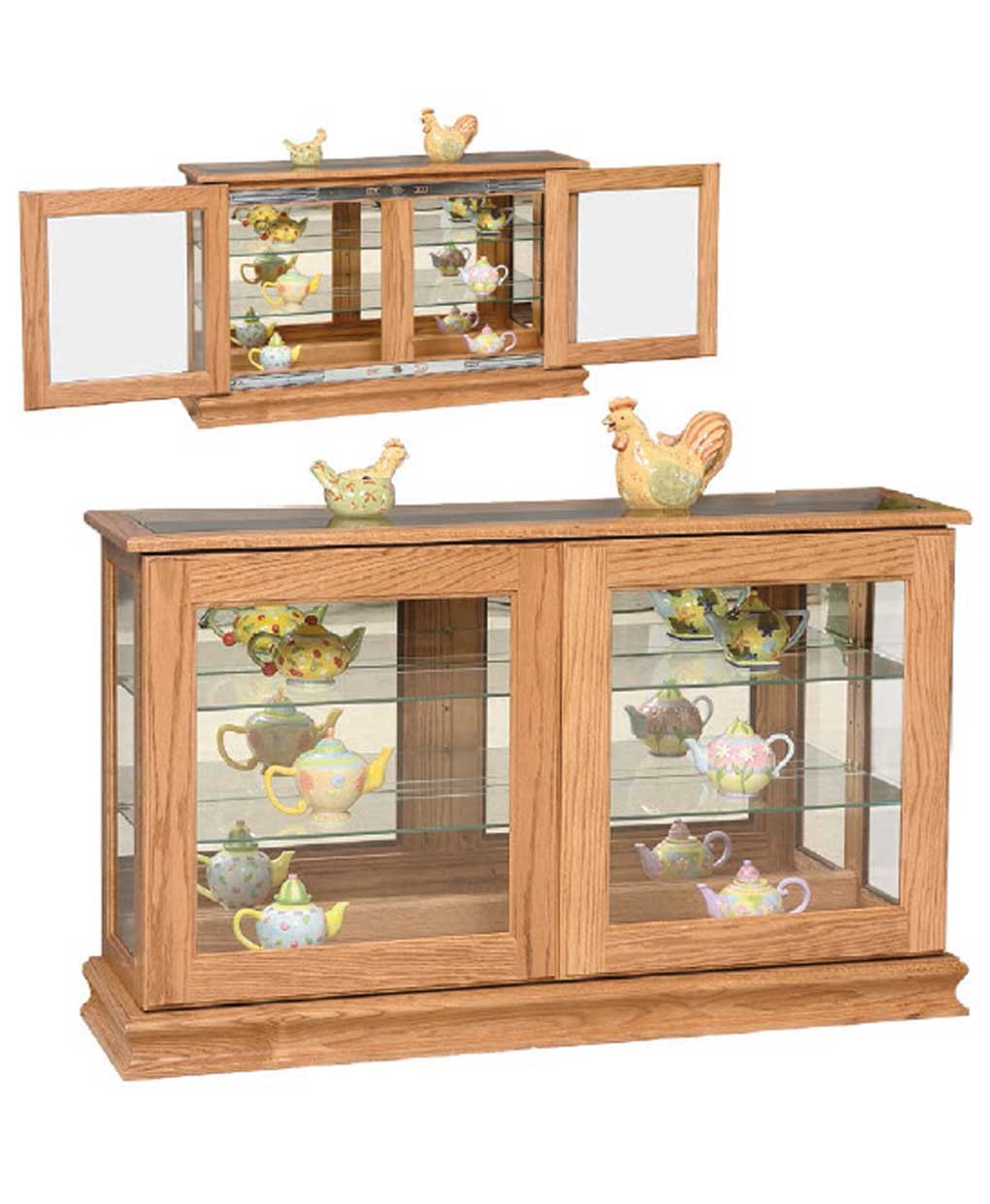Large Console Curio With Sliding Doors Amish Direct