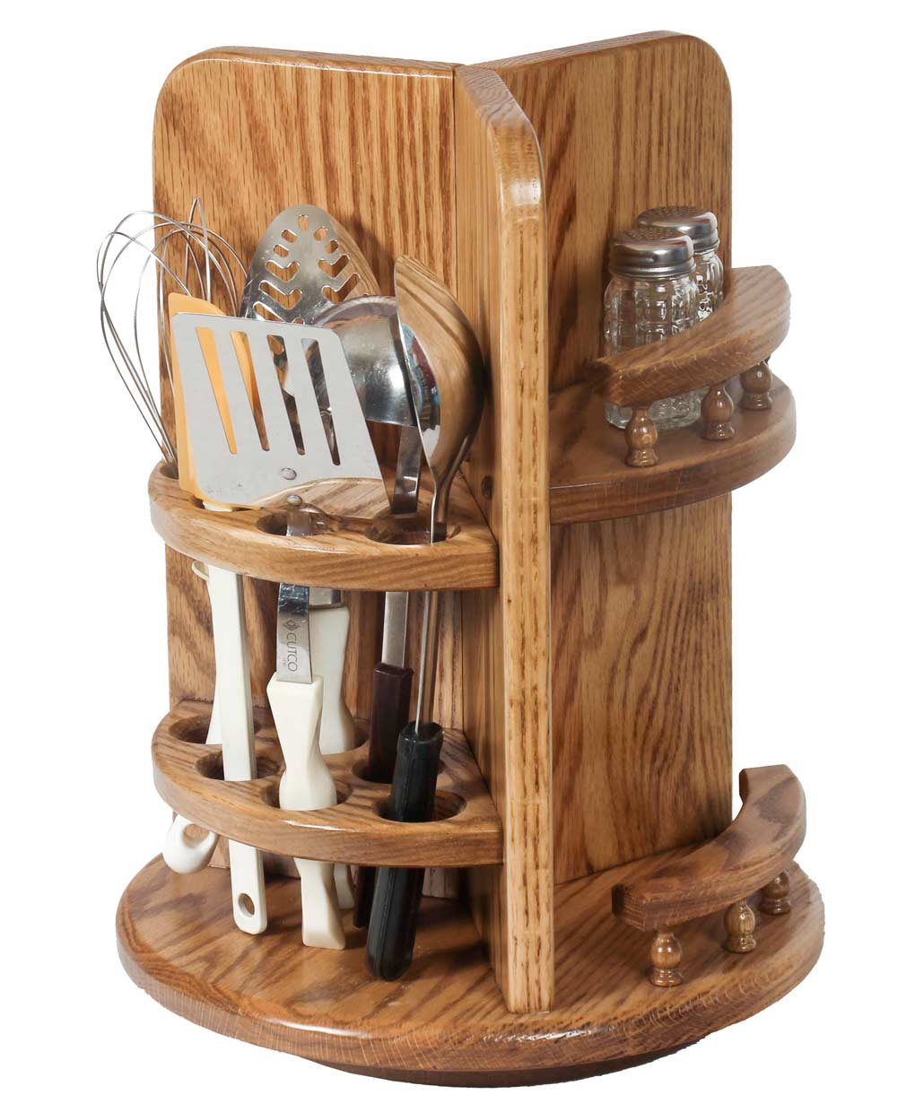 Kitchen Utensil Lazy Susan With Paper Towel Holder And Spice Rack   Oak
