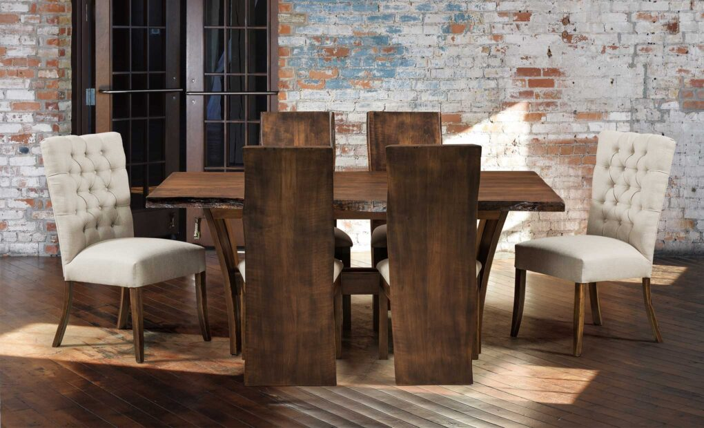 Alana Chairs, Evergreen Chairs, and Delphi Live Edge Table