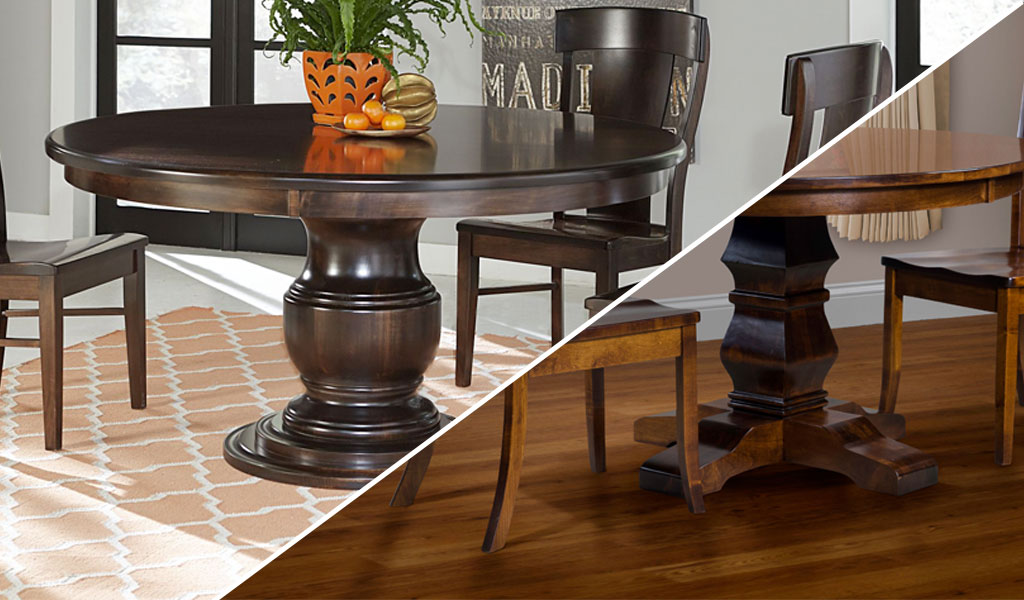 Choosing Right  Flushed or Legs on a Pedestal Table. Strong  Sturdy  Hand Crafted Amish Made Furniture