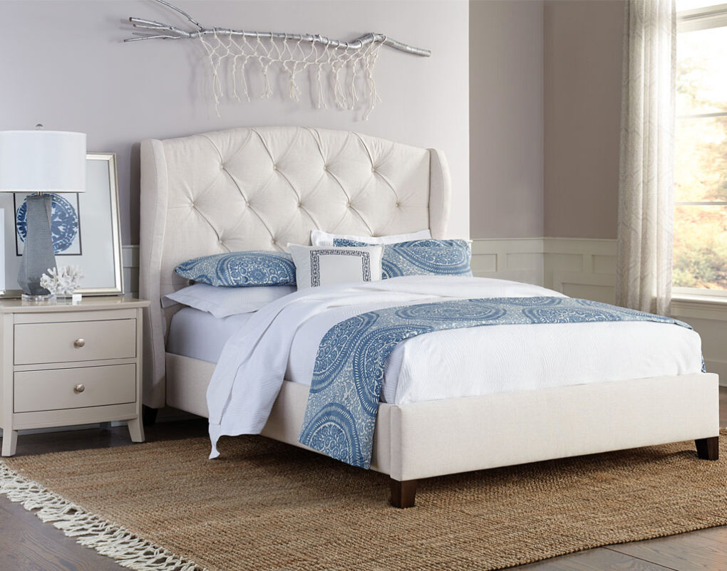 Lily Amish Full Upholstered Bed [Optional Wings]