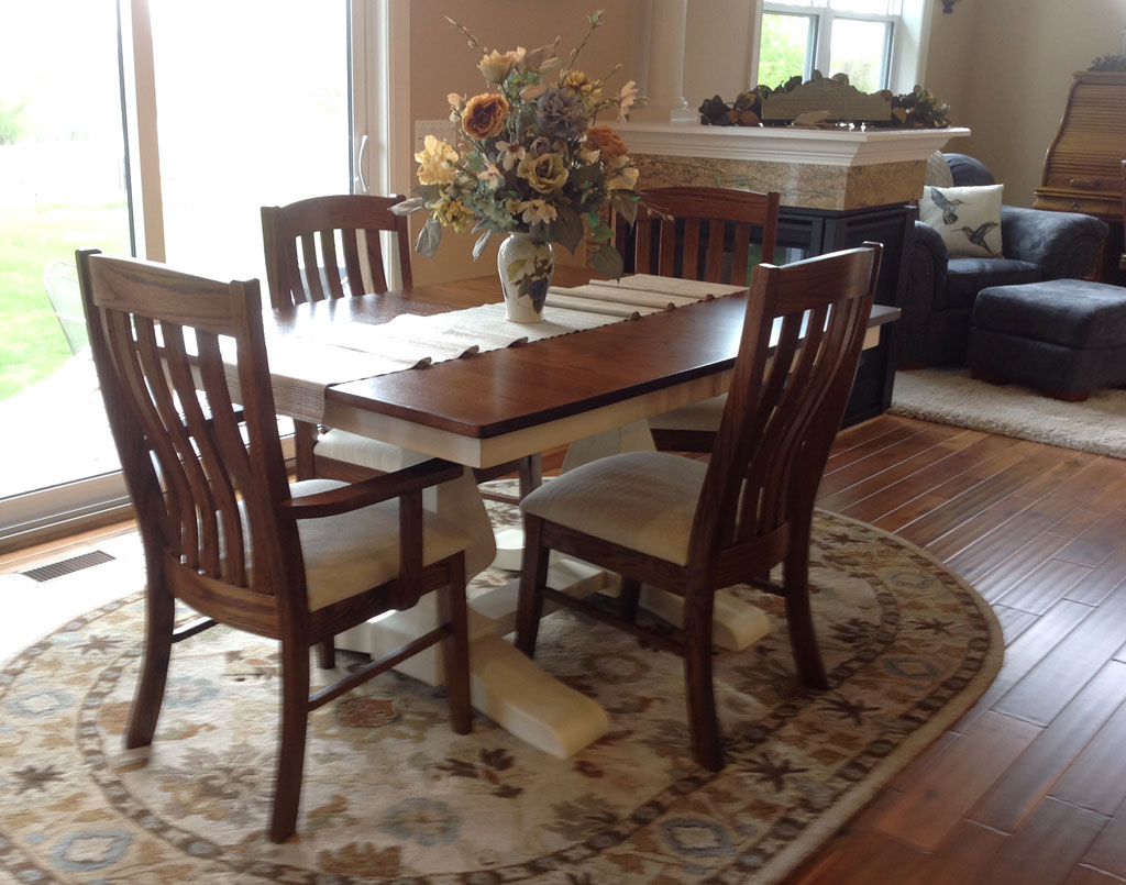 White Painted with Glaze Pedestal Table Set Amish Direct Furniture