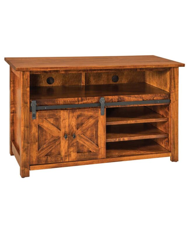 "Teton TV Stand with Sliding Barn Wood Door [49"" wide / TT2149TV]"