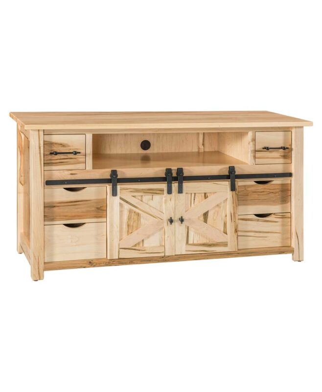 "Teton TV Stand with Sliding Barn Wood Door [60"" wide / TT2160TV]"