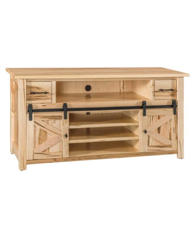 "Teton TV Stand with Sliding Barn Wood Door [60"" wide / Opened / TT2160TV]"