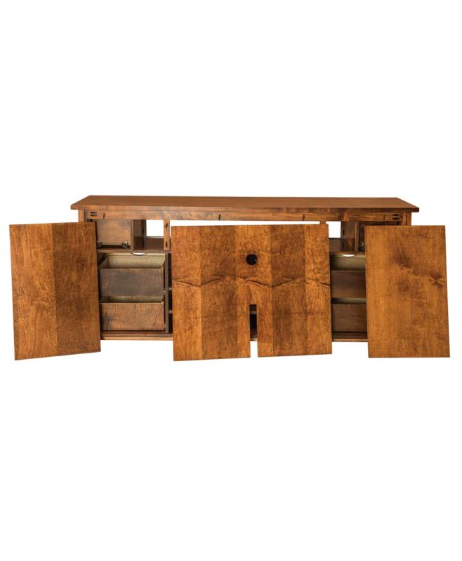 Teton TV Stand with Sliding Barn Wood Door [Removable Back Panels]