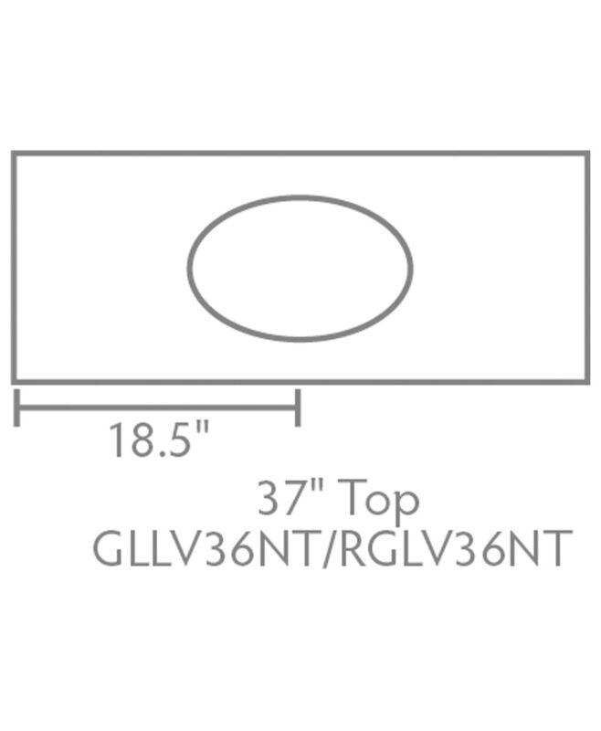 """Garland & Regal Amish 1 Drawer, 2 Door Bathroom Vanity [37"""" wide, Top view, GLLV36NT/RGLV36NT]"""
