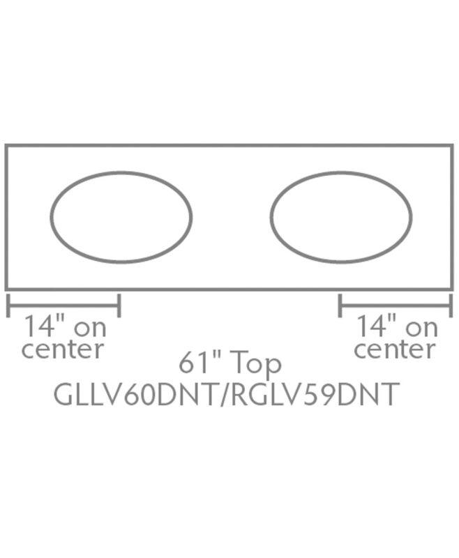 """Garland & Regal Amish 5 Drawer, 2 Door Bathroom Vanity [61"""" wide, Top view, GLLV60DNT/RGLV59DNT]"""