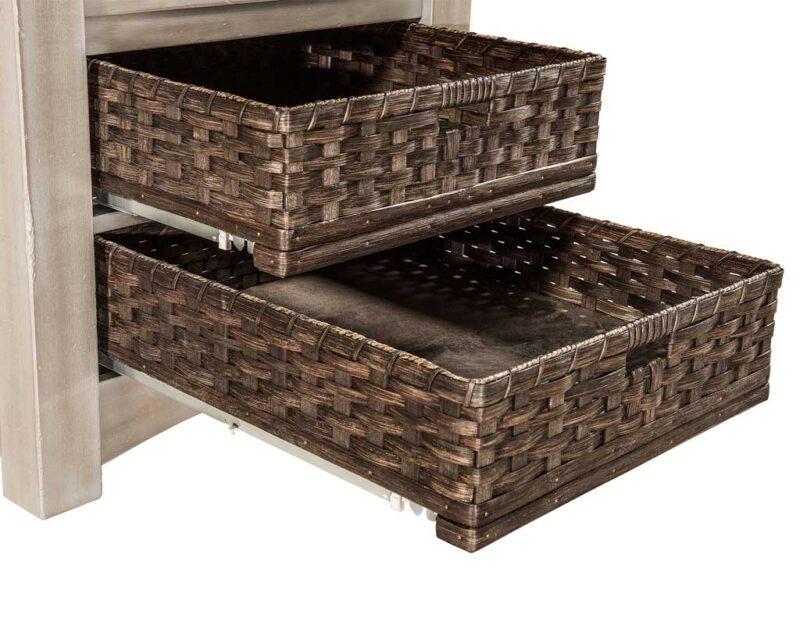 Heidi Amish Cabinet Table Set [Basket Detail]