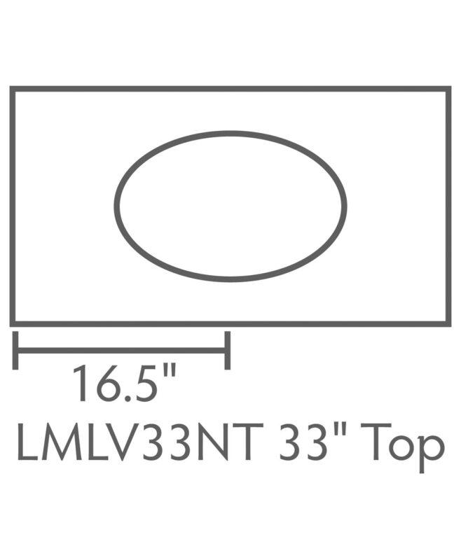 """Landmark 1 Drawer, 2 Door Bathroom Vanity [Dimensions / Top view / 33"""" wide / LMLV33NT]"""