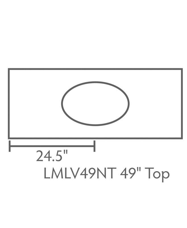 """Landmark 3 Drawer, 2 Door Bathroom Vanity [Dimensions / Top view / 49"""" wide / LMLV49NT]"""