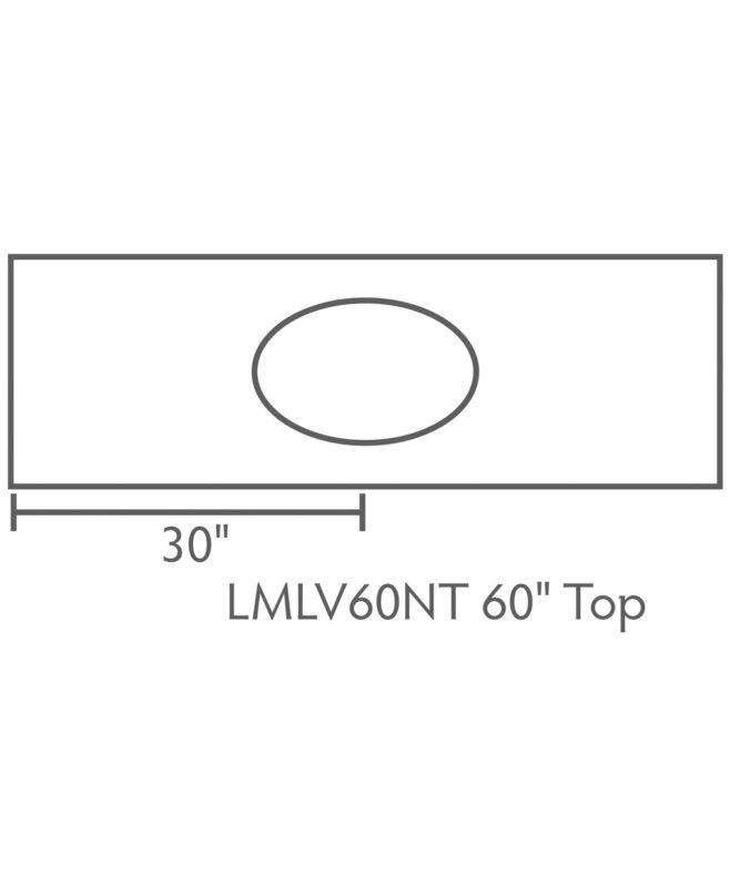 """Landmark 3 Drawer, 2 Door Bathroom Vanity [Dimensions / Top view / 60"""" wide / LMLV60NT]"""