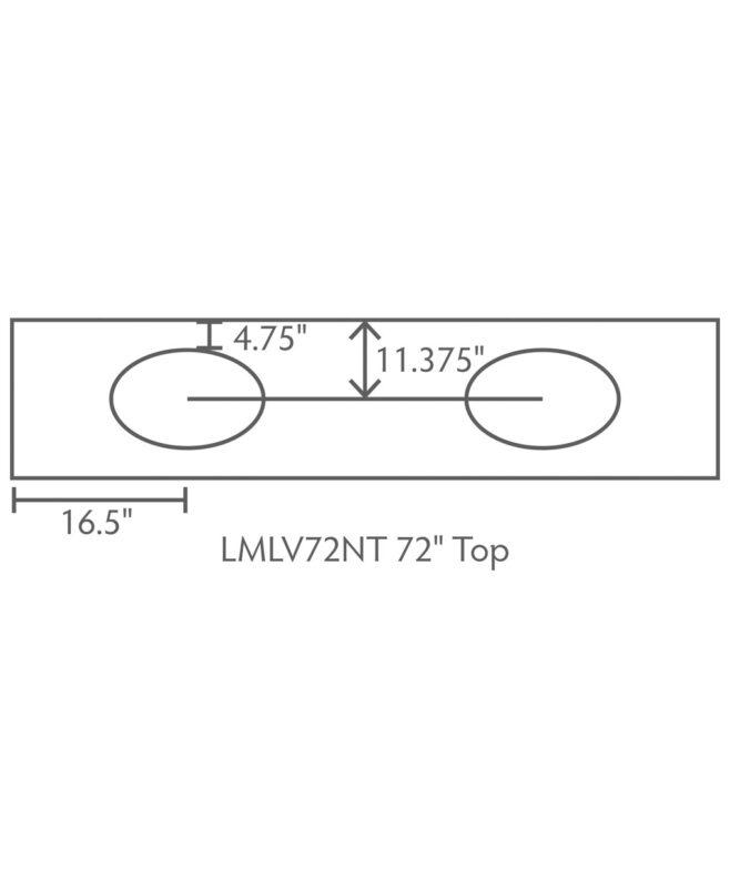 """Landmark 3 Drawer, 4 Door Bathroom Vanity [Dimensions / Top view / 72"""" wide / LMLV72NT]"""