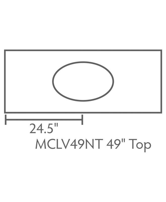 """McCoy 3 Drawer, 2 Door Bathroom Vanity [Dimensions / Top view / 49"""" wide / MCCLV49NT]"""