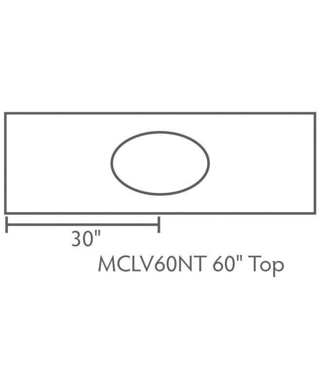 """McCoy 3 Drawer, 2 Door Bathroom Vanity [Dimensions / Top view / 60"""" wide / MCCLV60NT]"""