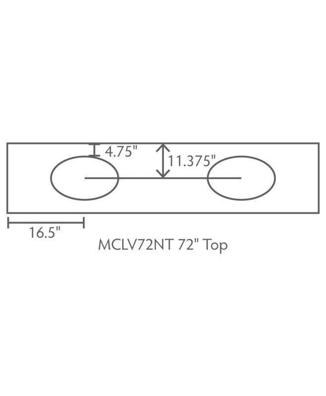 """McCoy 3 Drawer, 4 Door Bathroom Vanity [Dimensions / Top view / 72"""" wide / MCCLV72NT]"""