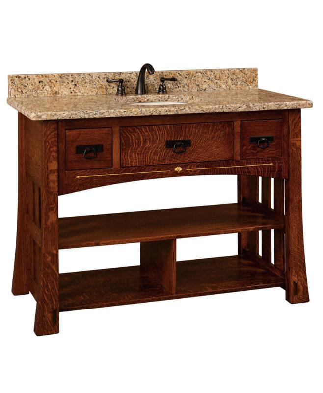 """Mesa Amish 49"""" wide, 3 Drawer Open Bathroom Vanity [MSLV49NT]"""