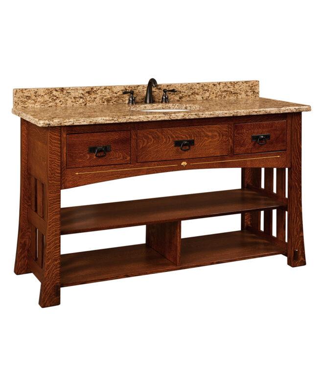 """Mesa Amish 60"""" wide, 3 Drawer Open Bathroom Vanity [MSLV60NT]"""