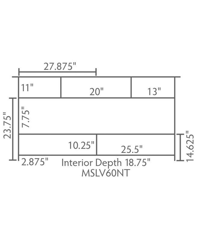 """Mesa Amish 60"""" wide, 3 Drawer Open Bathroom Vanity [Dimensions / MSLV60NT]"""