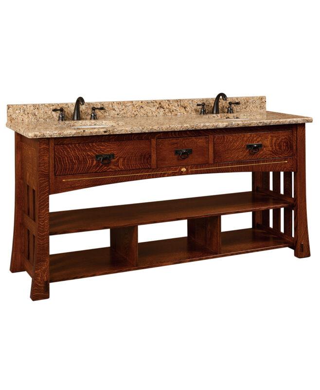 """Mesa Amish 72"""" wide, 3 Drawer Open Bathroom Vanity [MSLV72NT]"""
