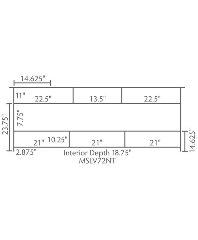 """Mesa Amish 72"""" wide, 3 Drawer Open Bathroom Vanity [Dimensions / MSLV72NT]"""