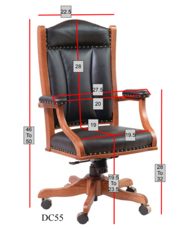 Buckeye Desk Chair with Gas Lift [Dimensions]