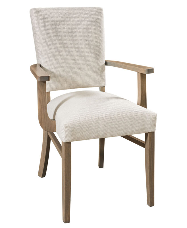 Warner Dining Chair [Arm Chair. Shown in Red Oak with FC 15443 Windswept stain. Seat shown in R1-12 Mayo fabric.]