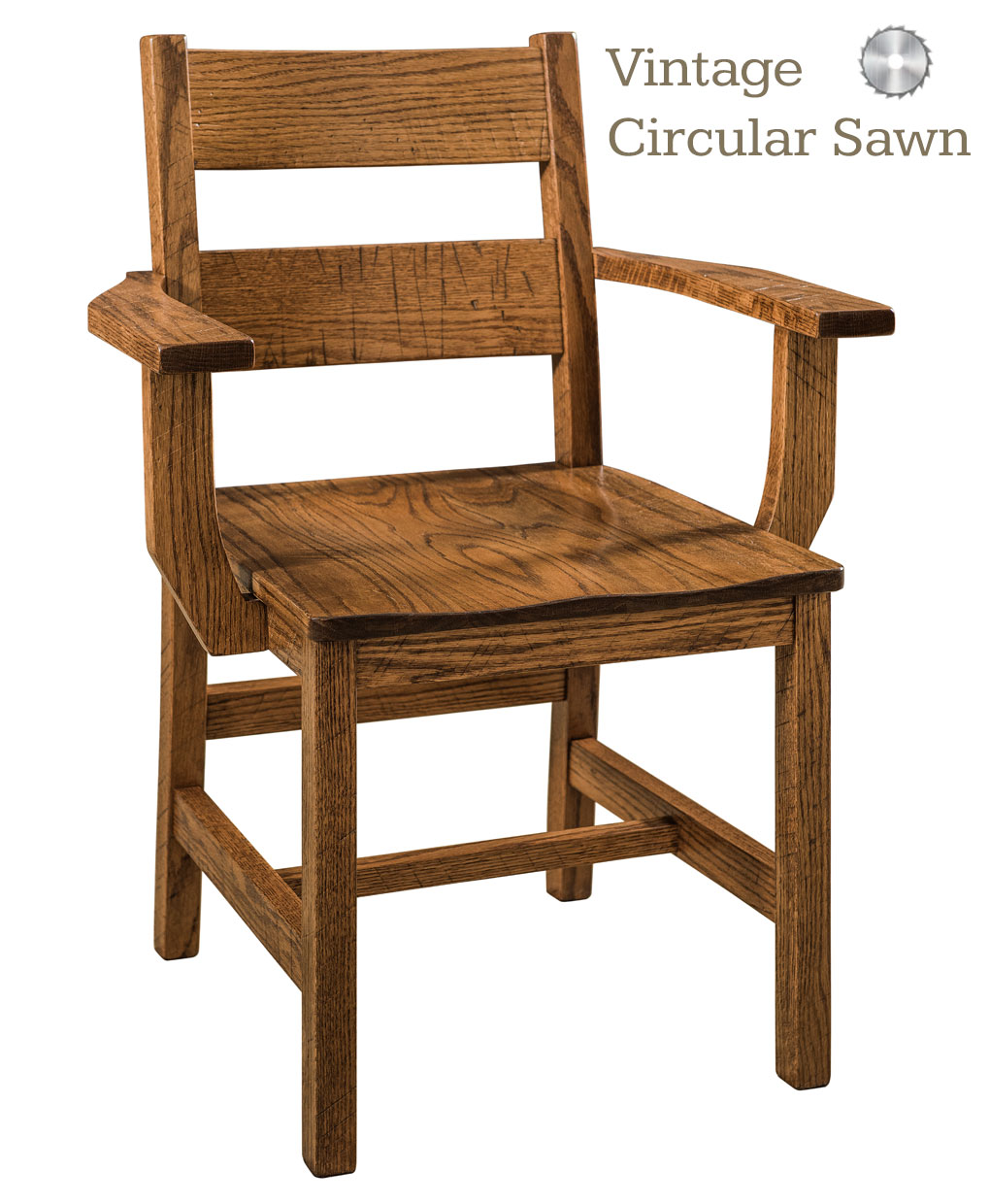 Memphis Amish Chair Arm With Vintage Circular Sawn Marks